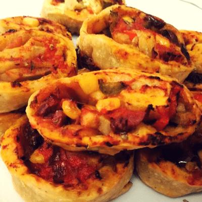 Ρολάκια πίτσας με λαχανικά